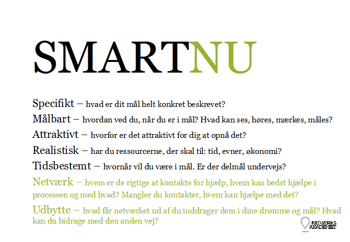 SMARTNU - Model til målsætning i dit netværksarbejde - Susie Lynge - Netværksakademiet